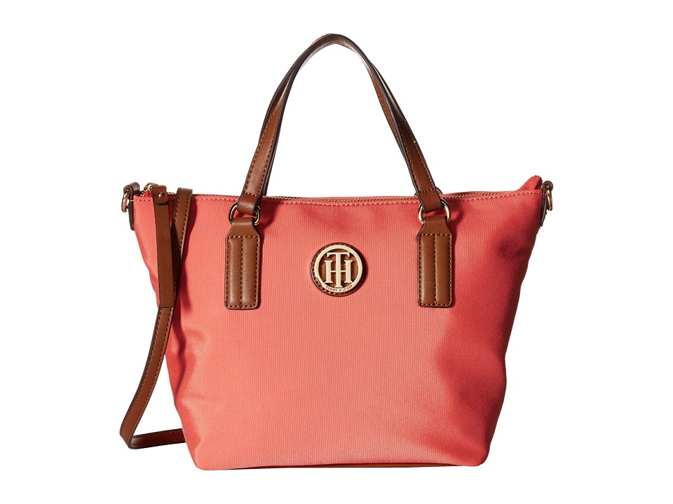 Tommy Hilfiger - Ivy - Heavy Nylon Convertible Shopper (Coral) Tote Handbags