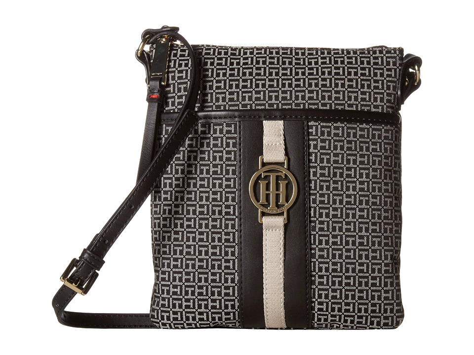 Tommy Hilfiger - Carly - Mini Monogram Jacquard/Smooth North/South Crossbody (Black/White) Cross Body Handbags