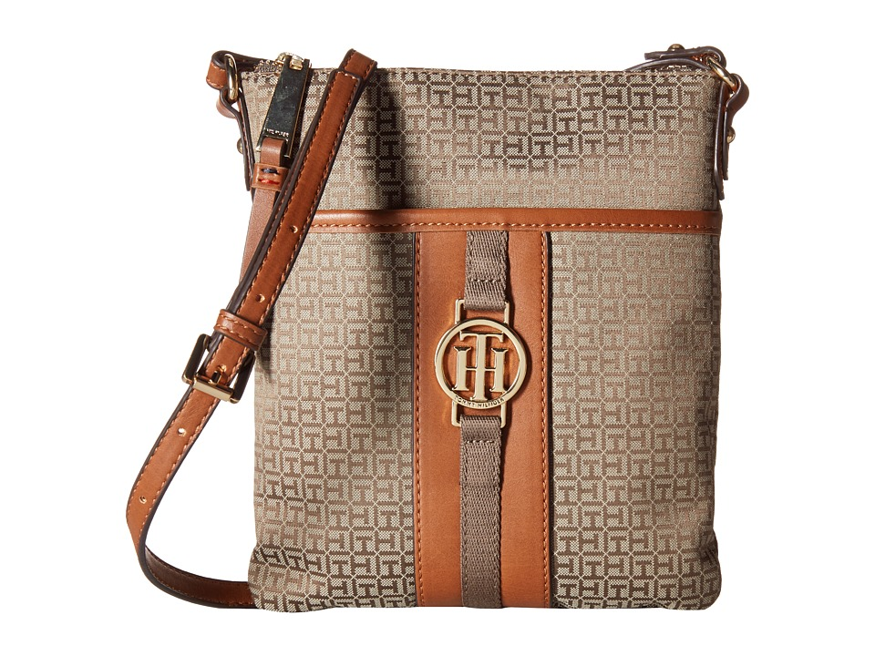 Tommy Hilfiger - Carly - Mini Monogram Jacquard/Smooth North/South Crossbody (Tan/Chocolate) Cross Body Handbags