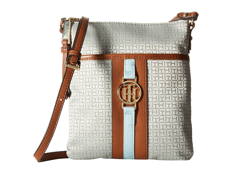 Tommy Hilfiger - Carly - Mini Monogram Jacquard/Smooth North/South Crossbody (Seaglass/Cream) Cross Body Handbags