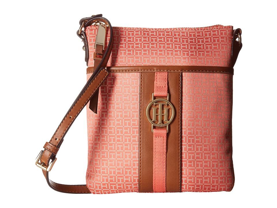 Tommy Hilfiger - Carly - Mini Monogram Jacquard/Smooth North/South Crossbody (Coral/Cream) Cross Body Handbags