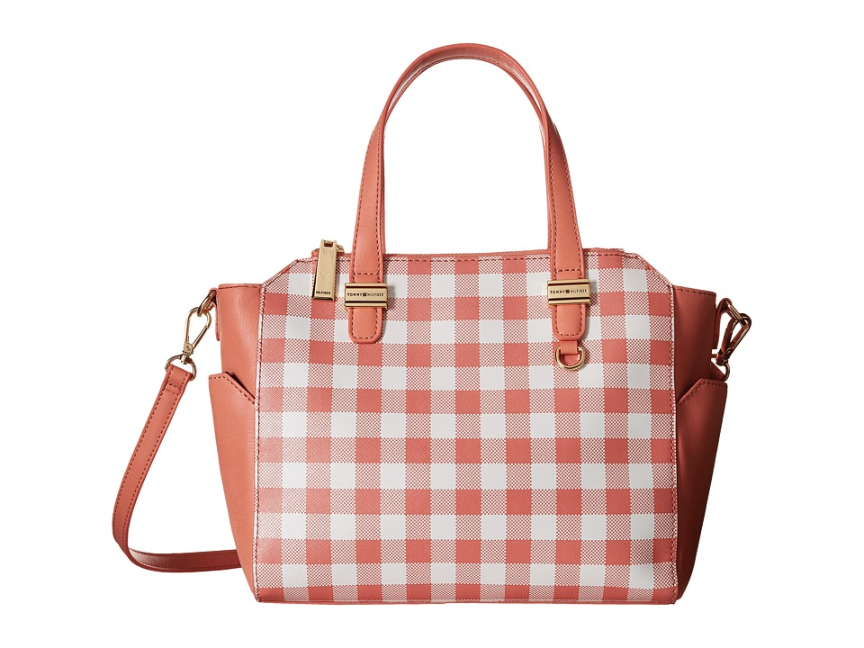 Tommy Hilfiger - Gianna - Canvas Small Shopper - Gingham (Coral/White) Tote Handbags