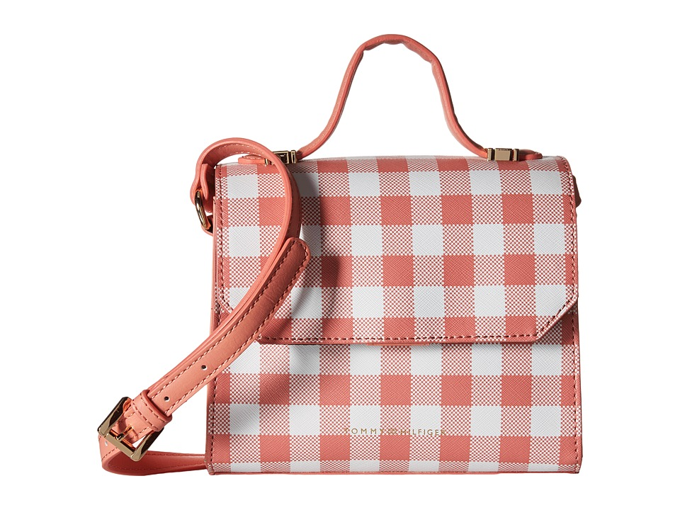 Tommy Hilfiger - Gianna - Mini Bag - Top-Handle Crossbody - Gingham (Coral/White) Cross Body Handbags