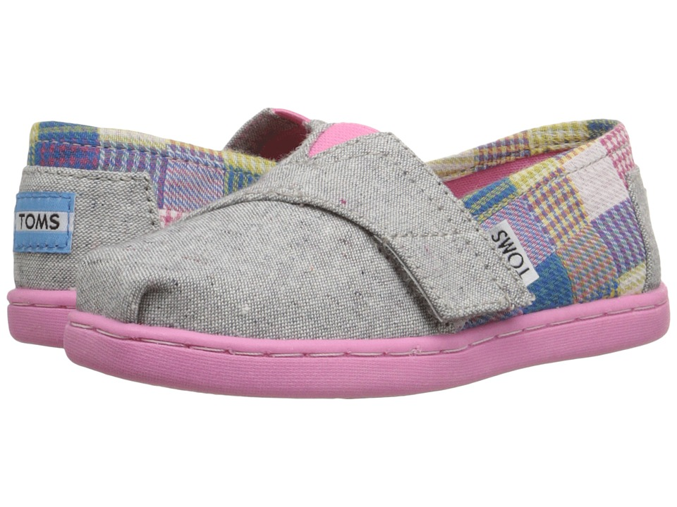TOMS Kids - Seasonal Classics (Infant/Toddler/Little Kid) (Grey Chambray/Patchwork) Girls Shoes