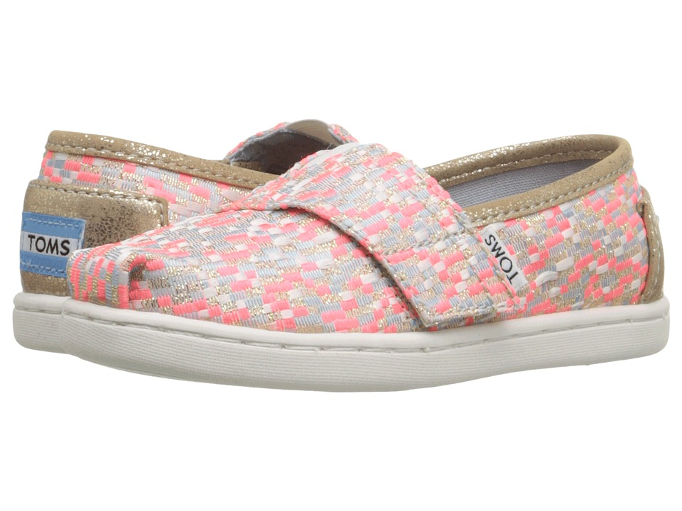 TOMS Kids - Seasonal Classics (Infant/Toddler/Little Kid) (Pink Glitz Woven) Girls Shoes