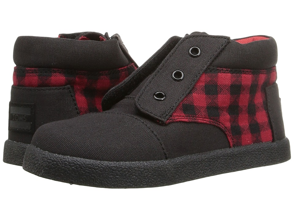 TOMS Kids Paseo High Sneaker (Infant/Toddler/Little Kid) (Red/Black Plaid) Boys Shoes