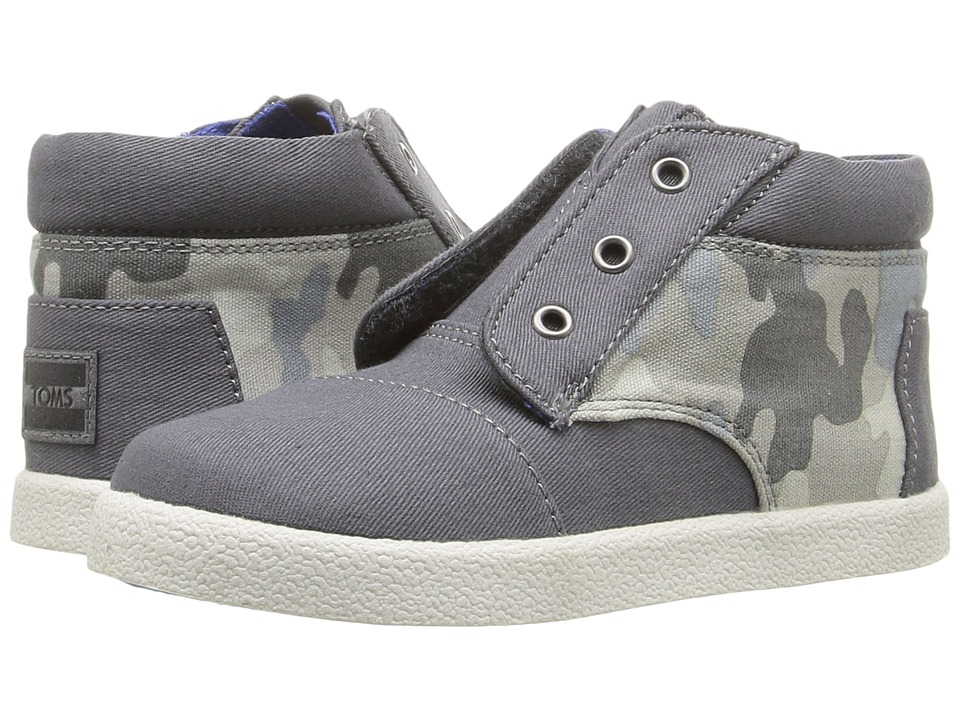 TOMS Kids - Paseo High Sneaker (Infant/Toddler/Little Kid) (Grey Cotton Twill/Camo) Boys Shoes