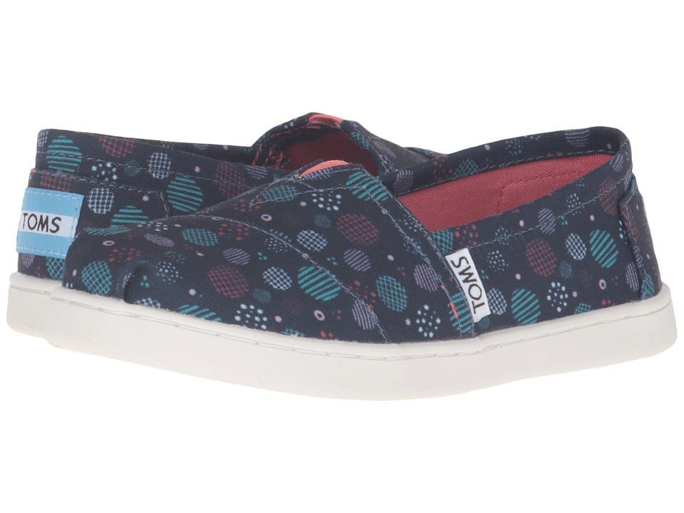TOMS Kids - Seasonal Classics (Little Kid/Big Kid) (Dark Blue Poly Canvas Dots) Kids Shoes