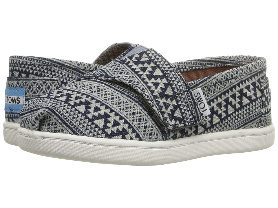 TOMS Kids - Seasonal Classics (Infant/Toddler/Little Kid) (Navy Tribal Geo/Denim) Girls Shoes
