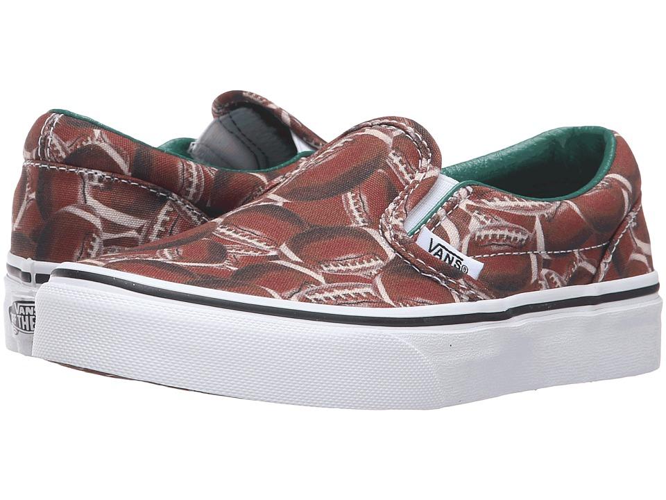 Vans Kids - Classic Slip-On (Little Kid/Big Kid) ((Sports) Football/Green) Boys Shoes