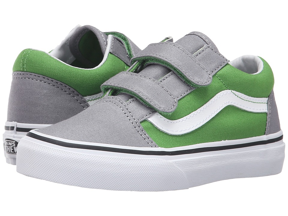 Vans Kids - Old Skool V (Little Kid/Big Kid) ((Pop) Online Lime/Frost Gray) Boys Shoes