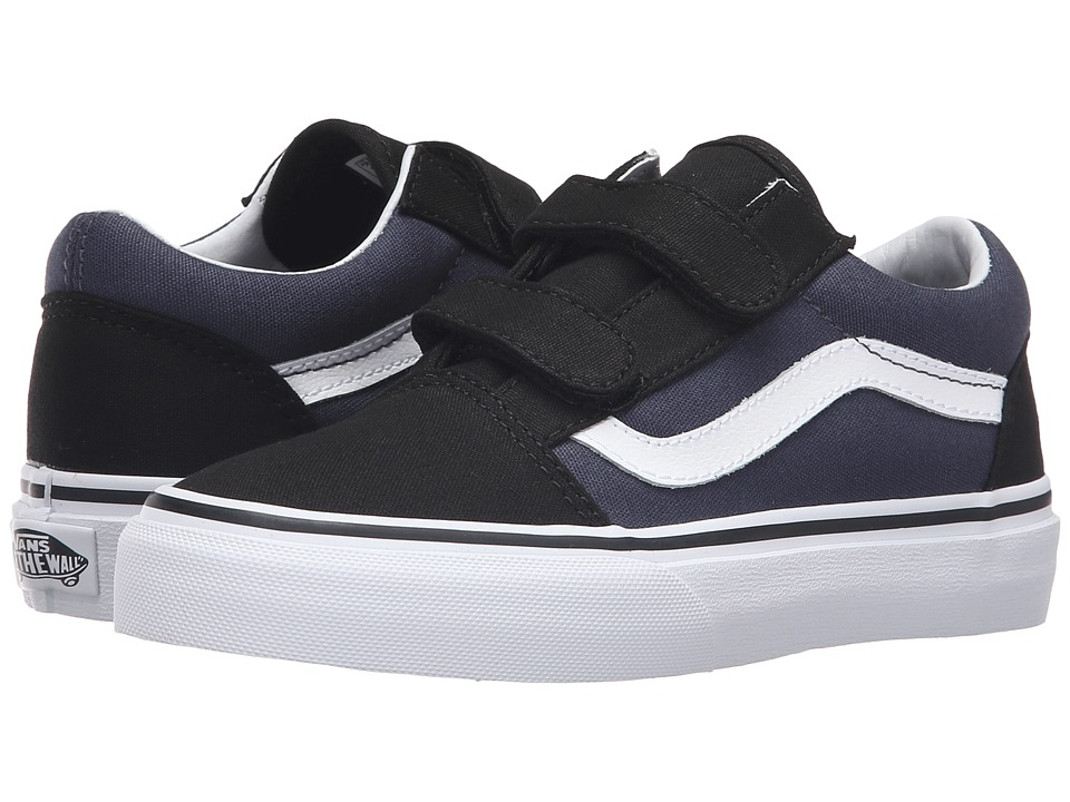 Vans Kids - Old Skool V (Little Kid/Big Kid) ((Pop) Black/Parisian Night) Boys Shoes