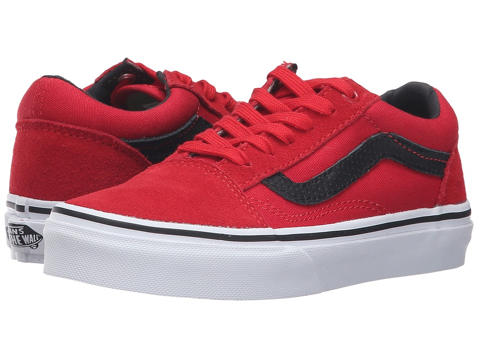 Vans Kids - Old Skool (Little Kid/Big Kid) ((Cord & Plaid) Racing Red/Black) Boys Shoes