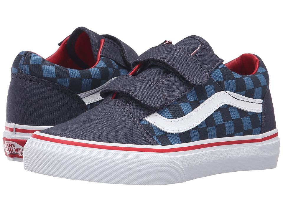 Vans Kids - Old Skool V (Little Kid/Big Kid) ((Checkerboard) Blue/Navy) Boys Shoes