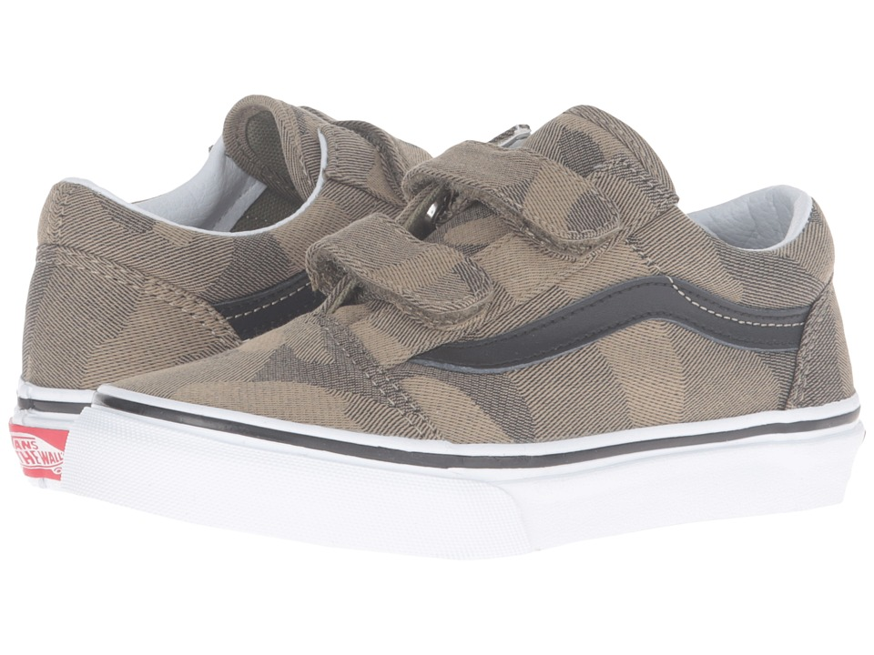 Vans Kids - Old Skool V (Little Kid/Big Kid) ((Camo Jacquard) Raven/True White) Boys Shoes