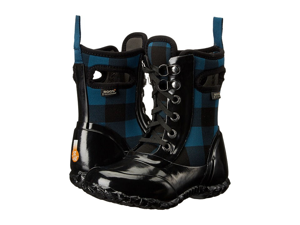 Bogs Kids - Sidney Lace Buffalo Plaid (Toddler/Little Kid/Big Kid) (Buffalo Plaid Legion Blue Multi) Girls Shoes