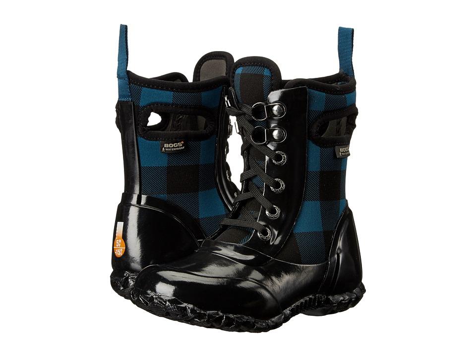 Bogs Kids - Sidney Lace Buffalo Plaid (Toddler/Little Kid/Big Kid) (Buffalo Plaid Legion Blue Multi) Girls Shoes