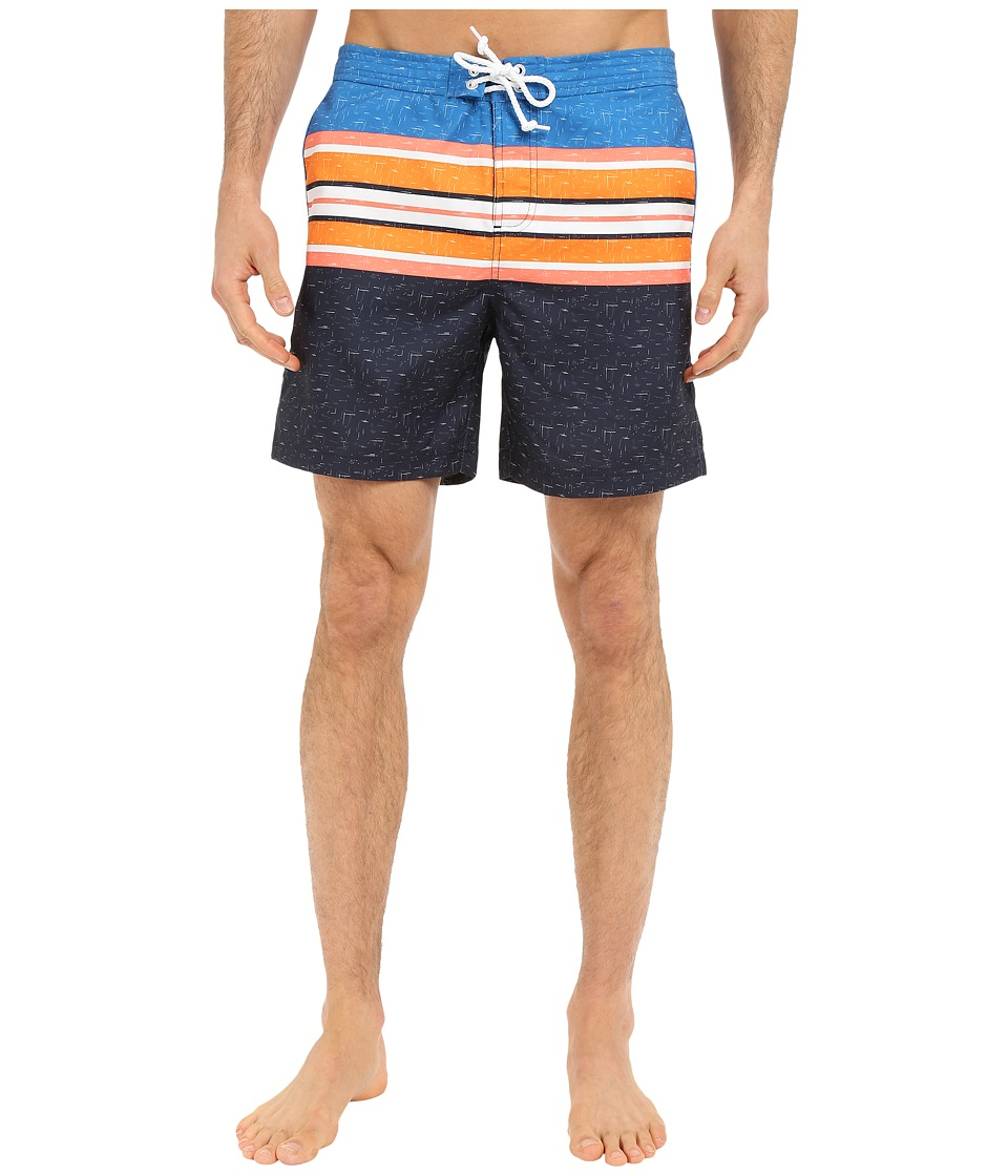 Original Penguin - Engineered Printed Stripe Volley Swim Shorts (Dark Sapphire) Men's Swimwear