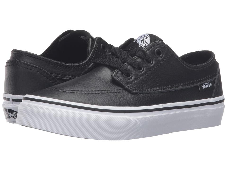 Vans Kids - Brigata (Little Kid/Big Kid) ((Leather) Black/True White) Boys Shoes