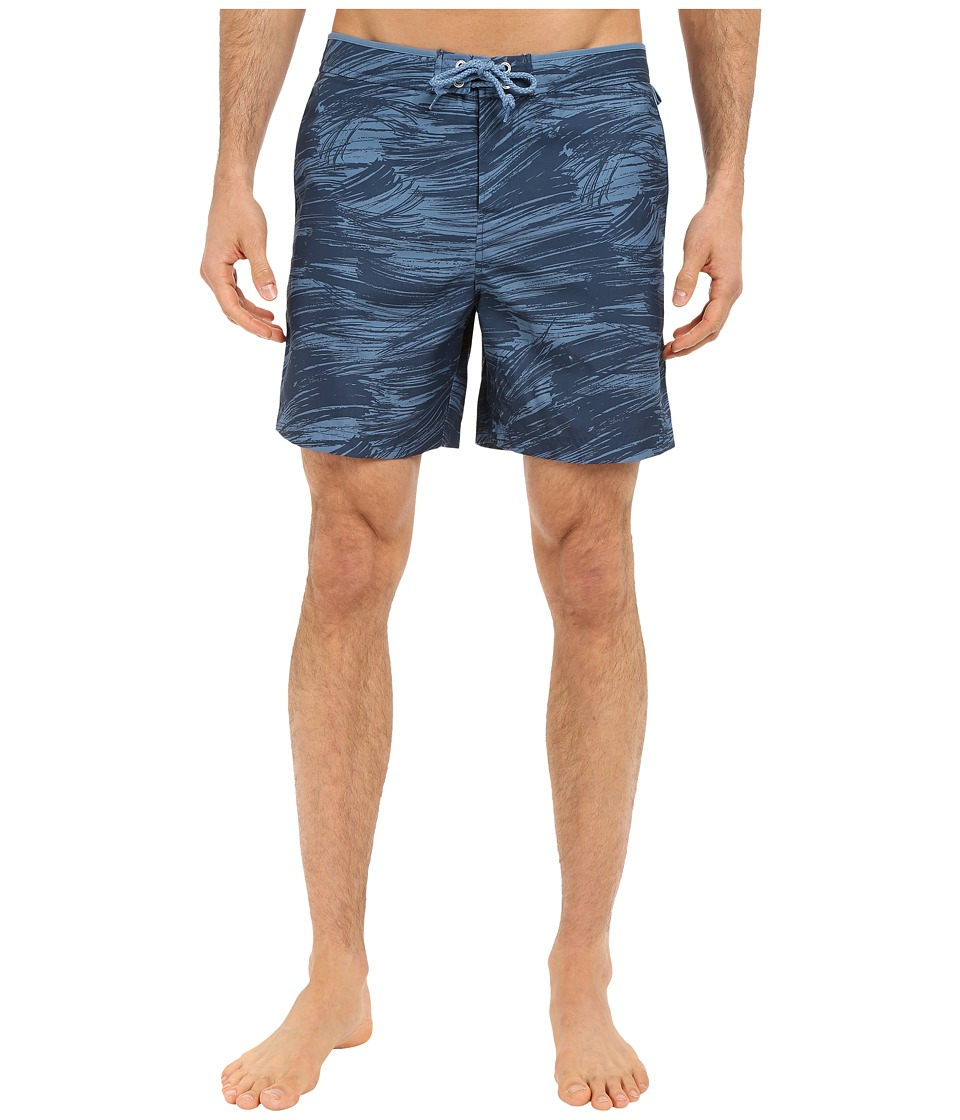 Original Penguin - Tie Dye Print Volley Swim Shorts (Dark Denim) Men's Swimwear