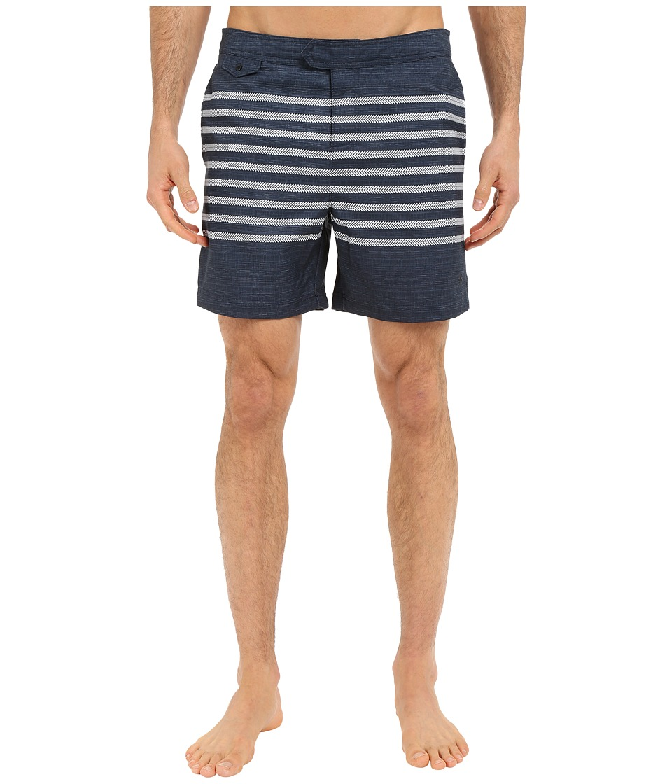 Original Penguin - Engineered Stripe Print Volley Swim Shorts (Dark Sapphire) Men's Swimwear