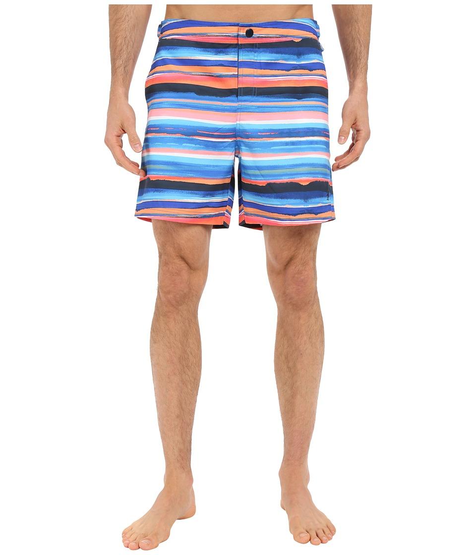 Original Penguin - Watercolor Printed Stripe Volley Swim Shorts (Daphne) Men's Swimwear