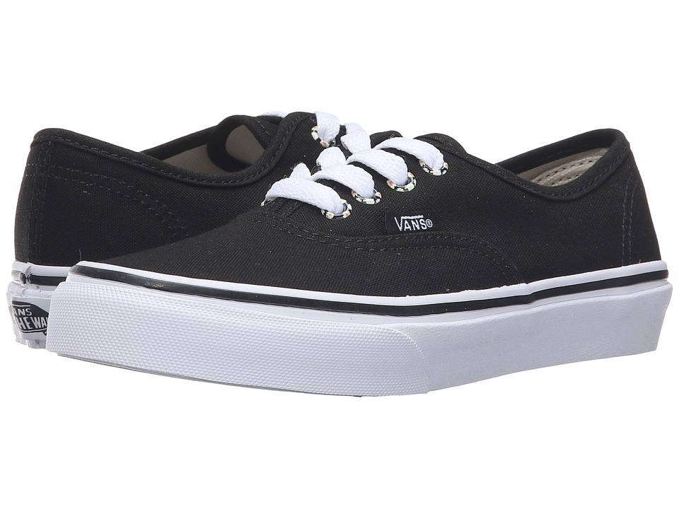 Vans Kids - Authentic (Little Kid/Big Kid) ((Daisy) Black/True White) Girls Shoes