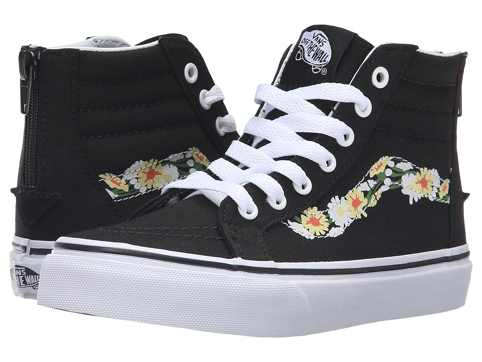 Vans Kids Sk8-Hi Zip (Little Kid/Big Kid) ((Daisy) Black/True White) Girls Shoes