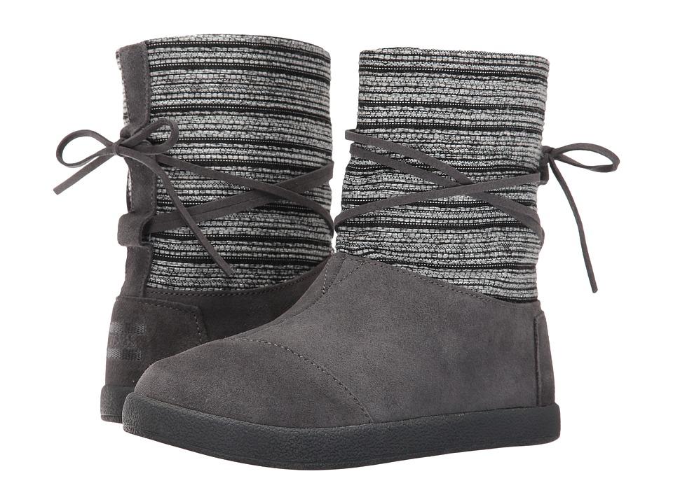 TOMS Kids Nepal Boot (Little Kid/Big Kid) (Castlerock Grey Metallic Woven/Suede) Girls Shoes