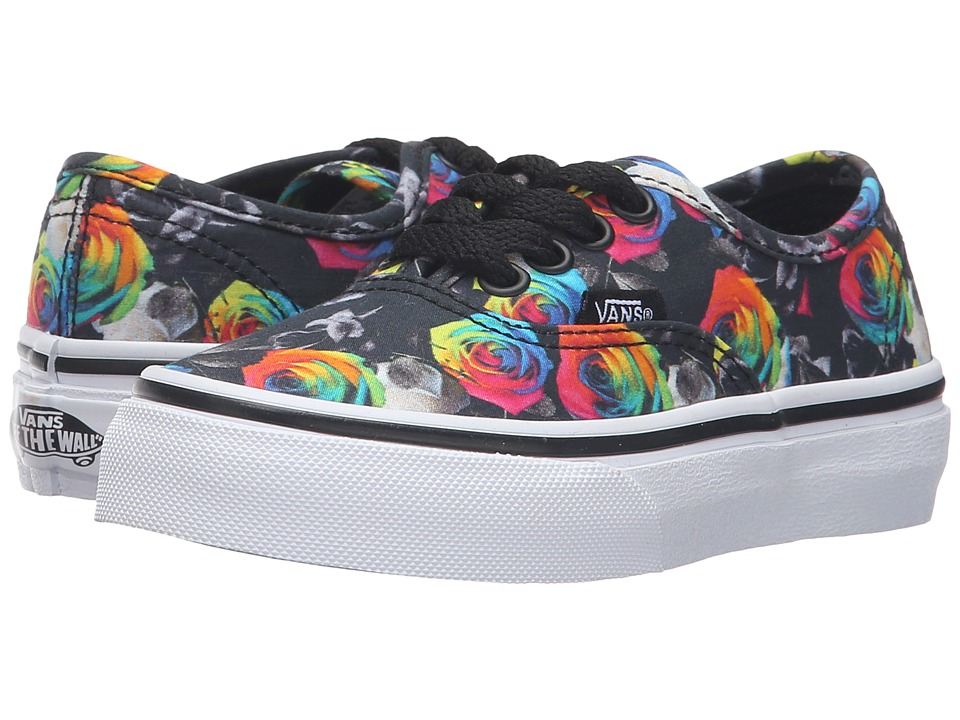 Vans Kids - Authentic (Little Kid/Big Kid) ((Rainbow Floral) Black/True White) Girls Shoes