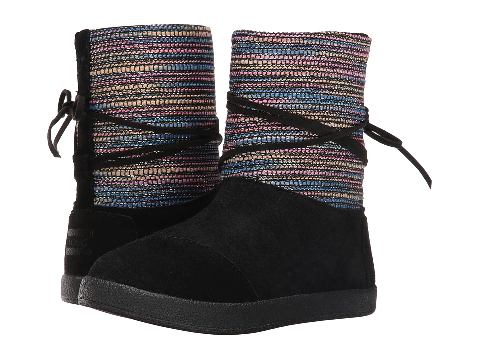 TOMS Kids Nepal Boot (Little Kid/Big Kid) (Black Metallic Woven/Suede) Girls Shoes