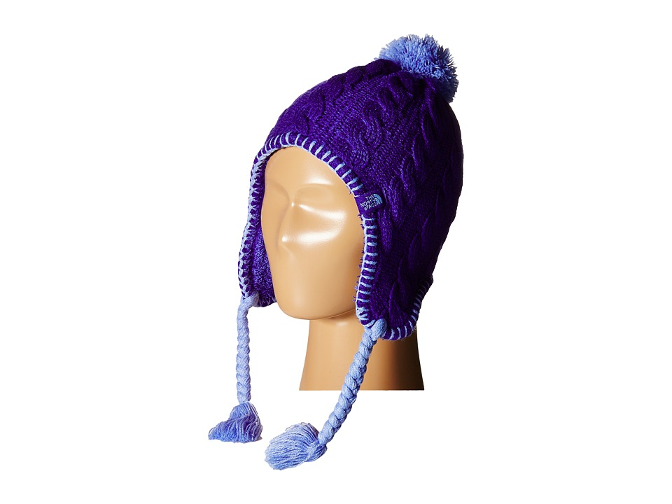The North Face Kids - Fuzzy Earflap Beanie 13 (Big Kids) (Lapis Blue/Grapemist Blue) Beanies