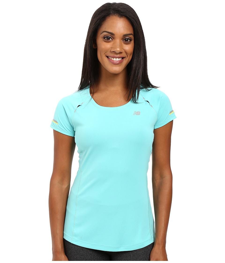 New Balance - NB Ice Short Sleeve Shirt (Aquarius) Women's Short Sleeve Pullover