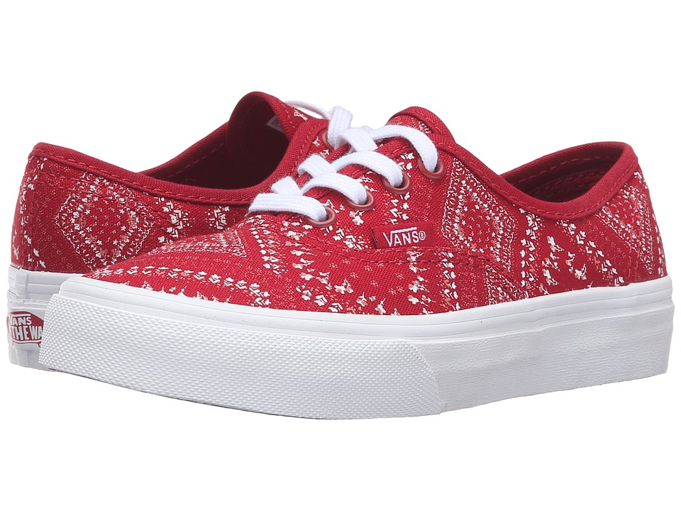 Vans Kids - Authentic (Little Kid/Big Kid) ((Ditsy Bandana) Chili Pepper) Girls Shoes