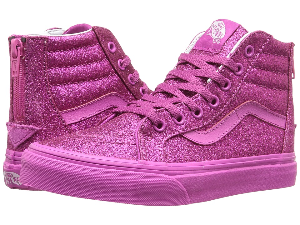 Vans Kids - Sk8-Hi Zip (Little Kid/Big Kid) ((Shimmer) Magenta) Girls Shoes