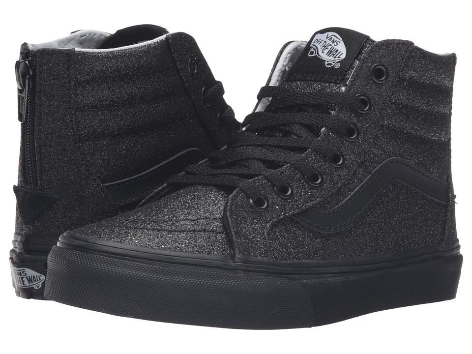 Vans Kids - Sk8-Hi Zip (Little Kid/Big Kid) ((Shimmer) Black/Black) Girls Shoes