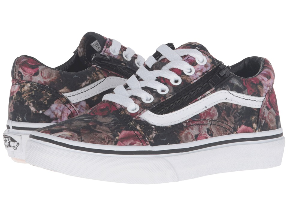 Vans Kids - Old Skool Zip (Little Kid/Big Kid) ((Moody Floral) Black/True White) Girls Shoes