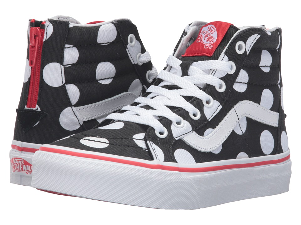 Vans Kids - Sk8-Hi Zip (Little Kid/Big Kid) ((Polka Dot) Black/Fiery Red) Girls Shoes