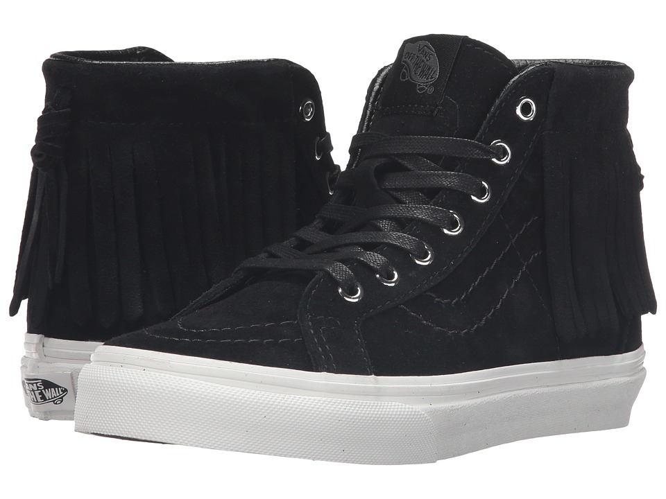 Vans Kids - Sk8-Hi Moc (Little Kid/Big Kid) ((Suede) Black/Blanc De Blanc) Girls Shoes