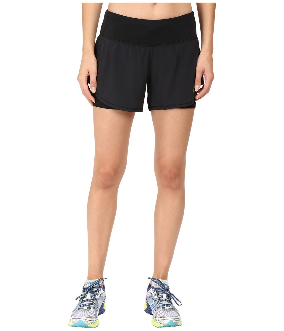 New Balance - Impact 4 2-in-1 Shorts (Black) Women's Shorts