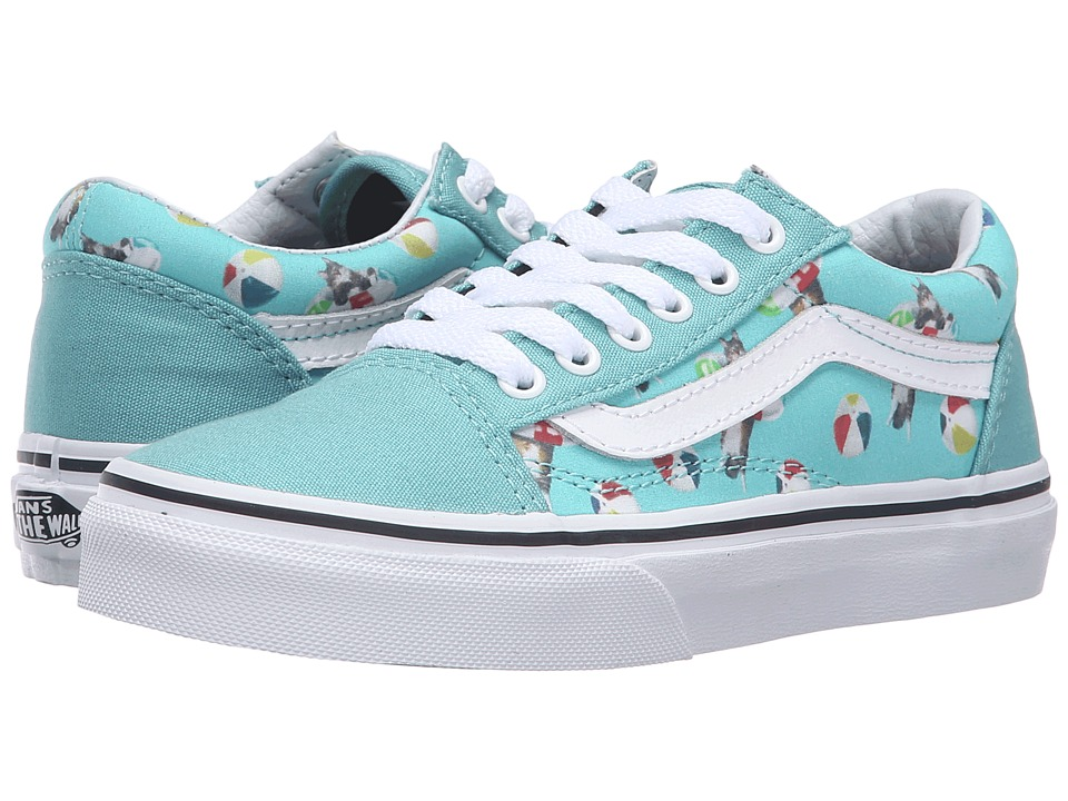 Vans Kids - Old Skool (Little Kid/Big Kid) ((Pool Vibes) Aqua Sea/True White) Girls Shoes