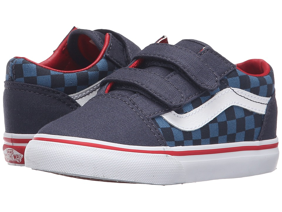 Vans Kids - Old Skool V (Toddler) ((Checkerboard) Blue/Navy) Boys Shoes