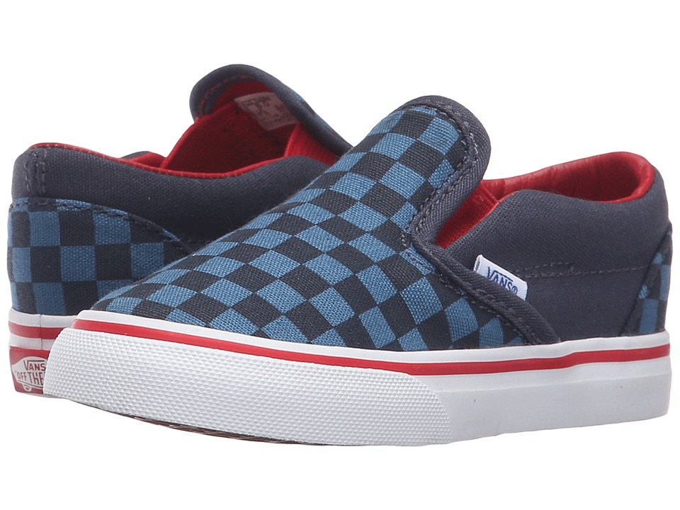Vans Kids - Classic Slip-On (Toddler) ((Checkerboard) Blue/Navy) Boys Shoes