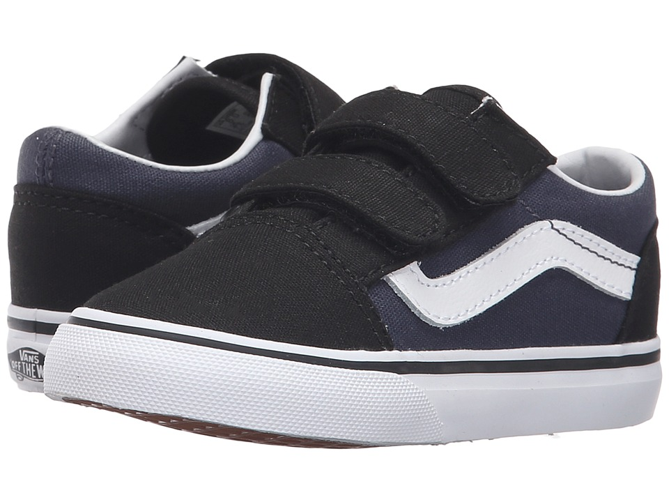 Vans Kids - Old Skool V (Toddler) ((Pop) Black/Parisian Night) Boys Shoes