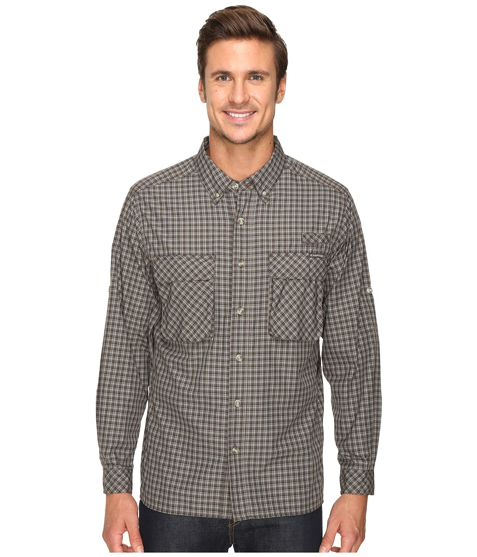 ExOfficio - Air Strip Micro Plaid Long Sleeve Top (Cinder) Men's Long Sleeve Button Up
