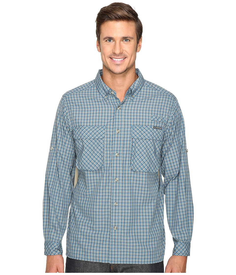 ExOfficio - Air Strip Micro Plaid Long Sleeve Top (Atlantic) Men's Long Sleeve Button Up