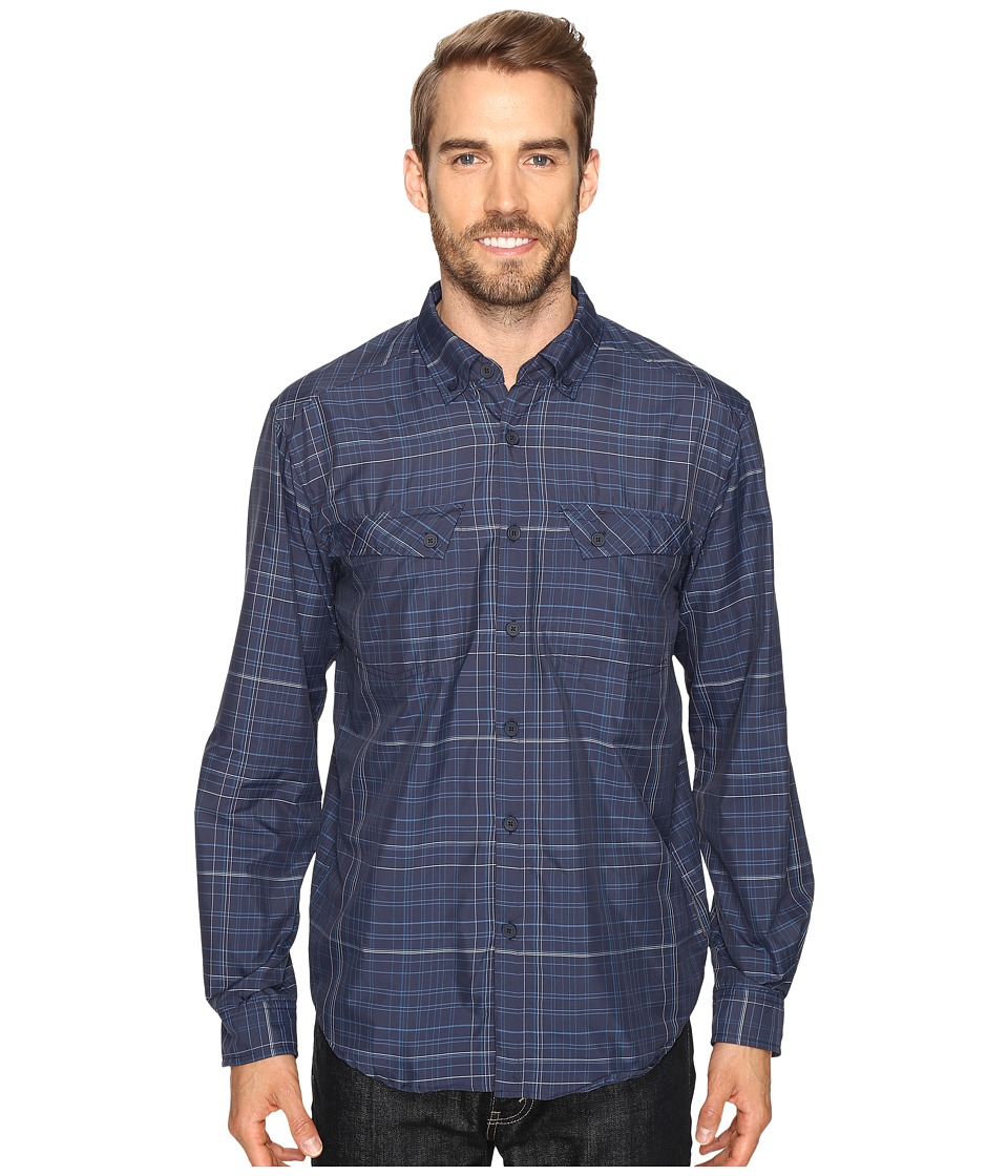 ExOfficio - Minimo Long Sleeve Shirt (Navy Plaid) Men's Long Sleeve Button Up