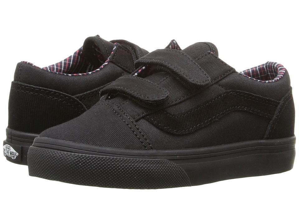 Vans Kids - Old Skool V (Toddler) ((Cord & Plaid) Black/Black) Boys Shoes