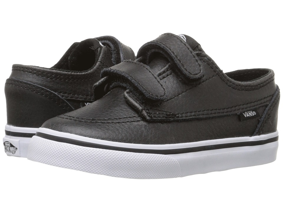 Vans Kids - Brigata V (Toddler) ((Leather) Black/True White) Boys Shoes