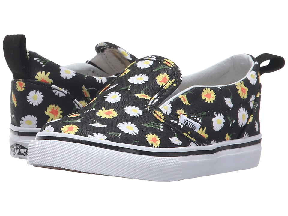Vans Kids - Slip-On V (Toddler) ((Daisy) Black/True White) Girls Shoes